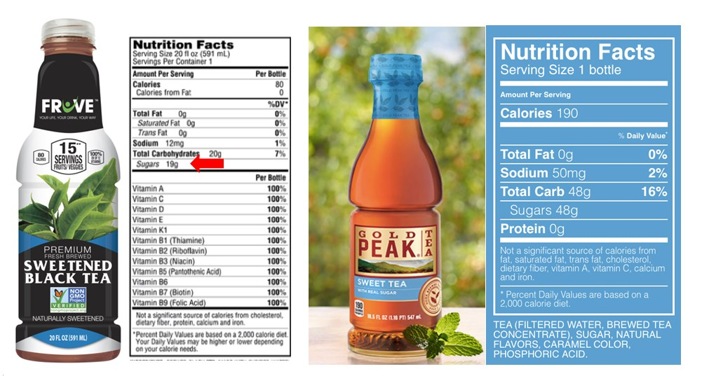 Fruve Fruits Juice | Fruve Nutrition Facts With Gold Peak Tea | Dare To Compare